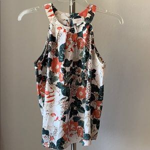 Floral Blouse - Halter Tank Top